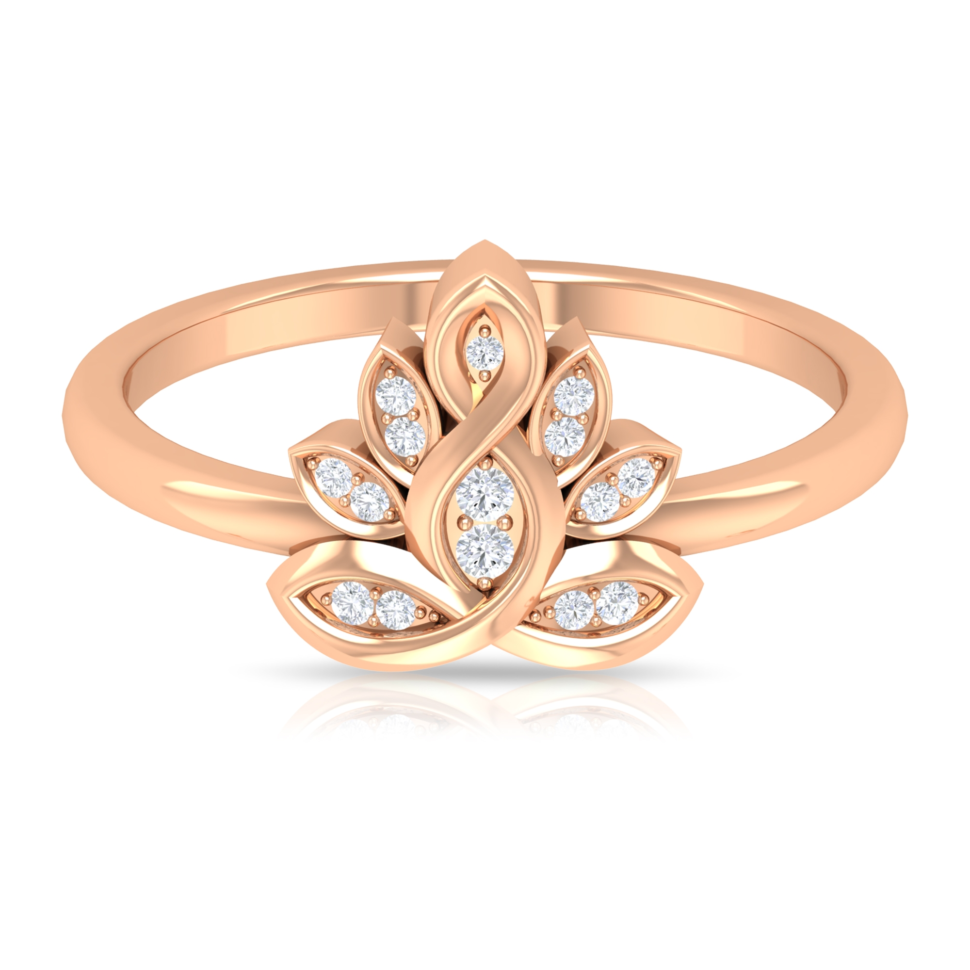 Round Cut Diamond Flower Ring in Prong Setting