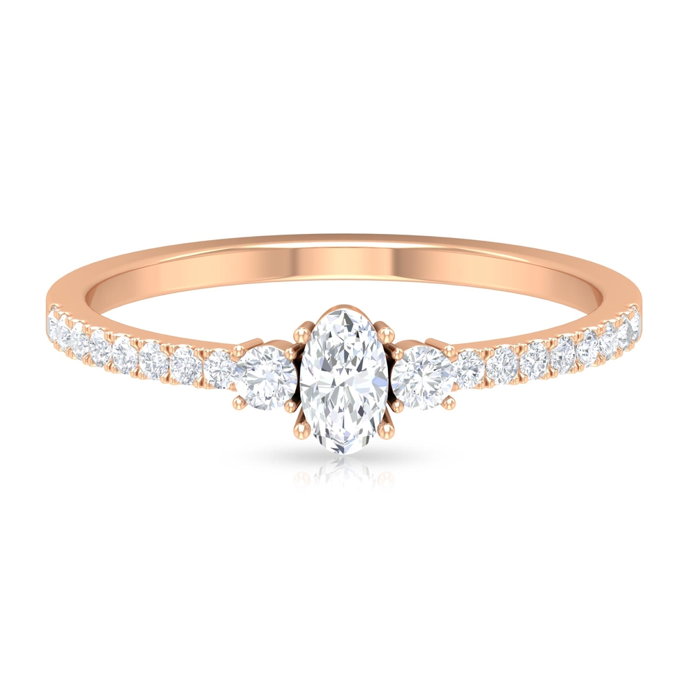 1/2 CT Diamond Engagement Ring with 3 Stone