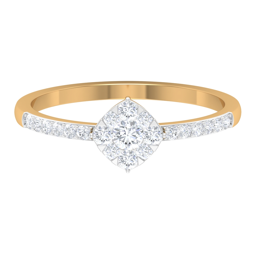 1/2 CT Diamond Engagement Ring in Illusion Setting with Two Tone Gold