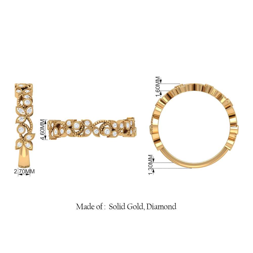 1/4 CT Diamond and Gold Beaded Leaf Band Ring