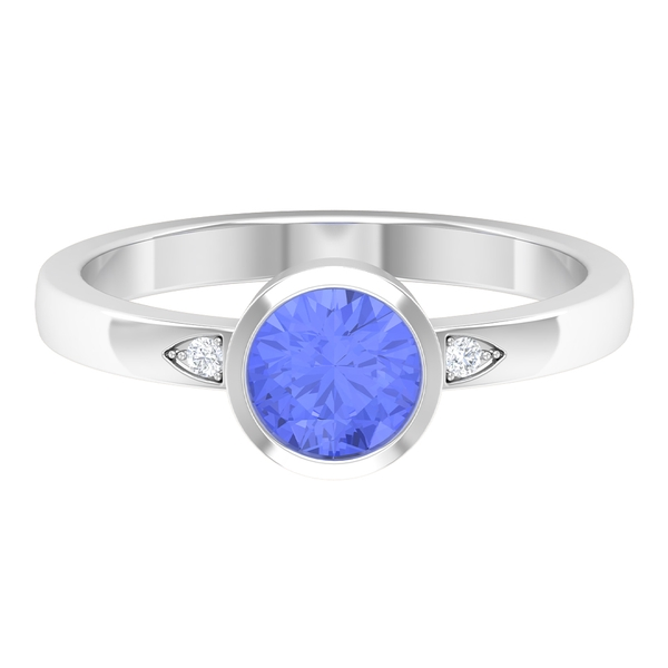 1 CT Bezel Set Tanzanite Solitaire Ring with Moissanite