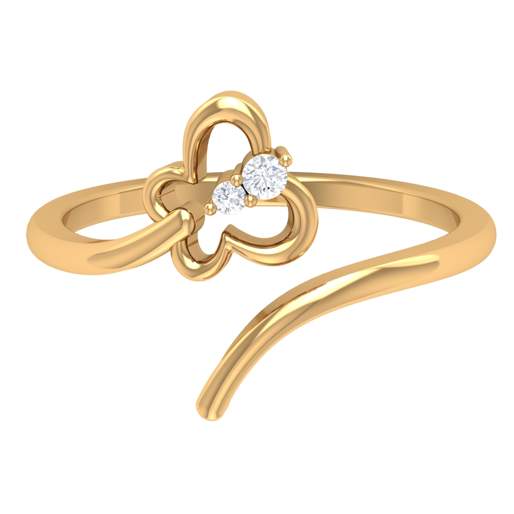 Shared Prong Set Diamond and Gold Butterfly Wrap Ring