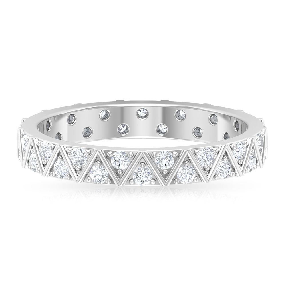 3/4 CT Surface Prong Set Diamond and Gold Band Ring for Women
