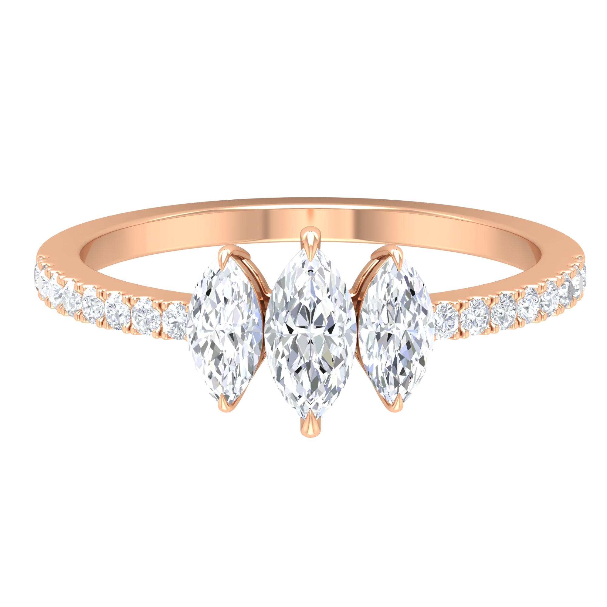 1 CT Marquise Cut Diamond Three Stone Engagement Ring with Side Stones