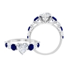 2.75 CT Heart Shape Moissanite with Created Blue Sapphire Ring