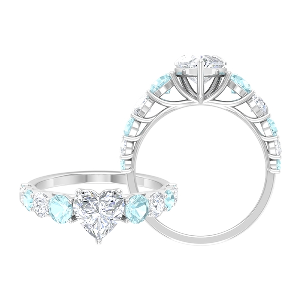 2.50 CT Heart Cut Moissanite and Sky Blue Topaz Engagement Ring