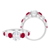 3 CT Oval Cut Solitaire Moissanite and Ruby Cocktail Ring