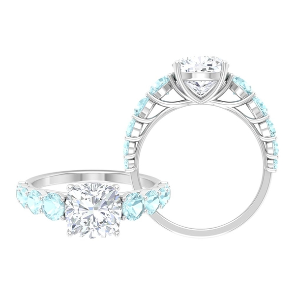 3.50 CT Cushion Cut Moissanite Ring with Sky Blue Topaz Side Stones