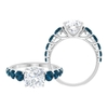 3.50 CT Moissanite Solitaire Ring with London Blue Topaz Side Stones