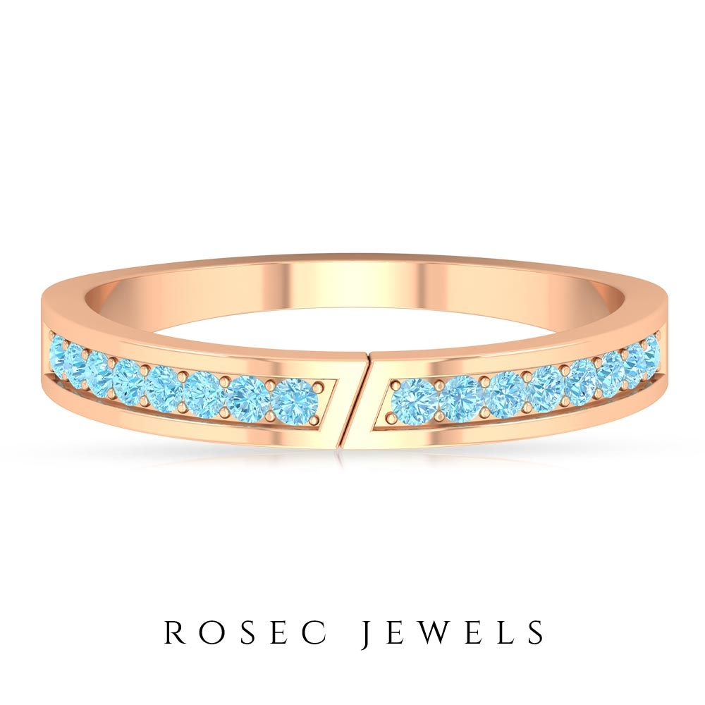 1/4 CT Classic Band Ring with Aquamarine for Women