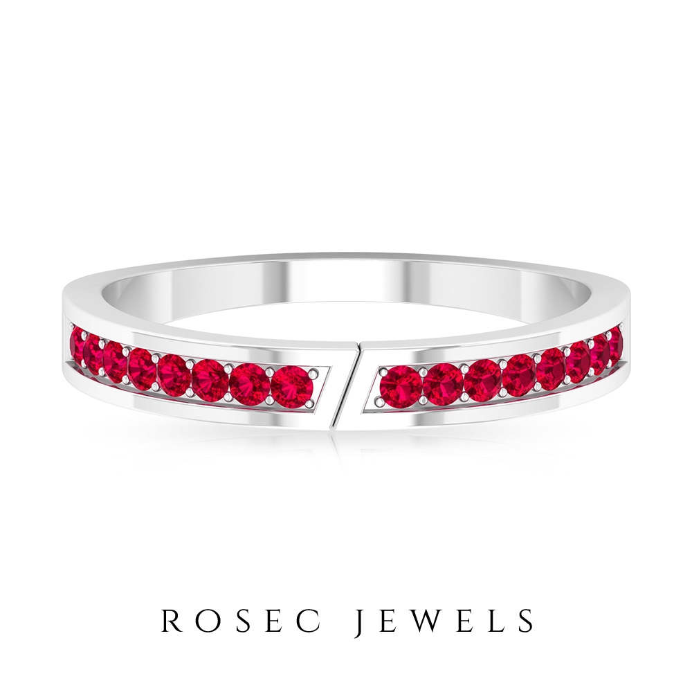 1/4 CT Prong Set Ruby Unisex Stackable Ring