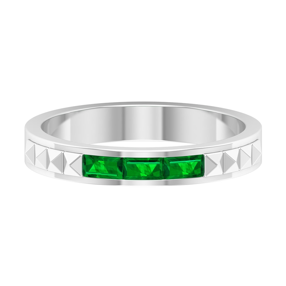 1/2 CT Baguette Cut Emerald Two Tone Gold Anniversary Band