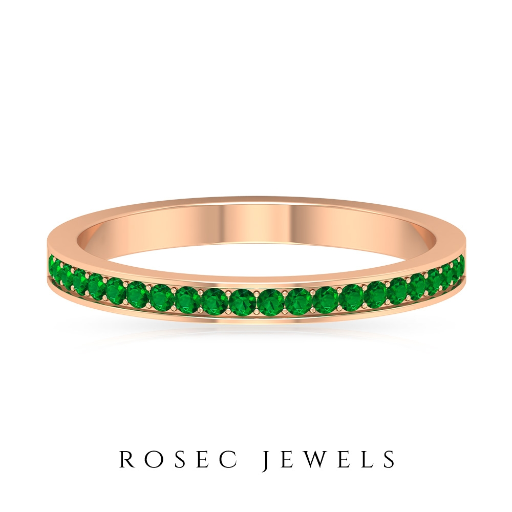 1/4 CT May Birthstone Emerald Half Eternity Stackable Band