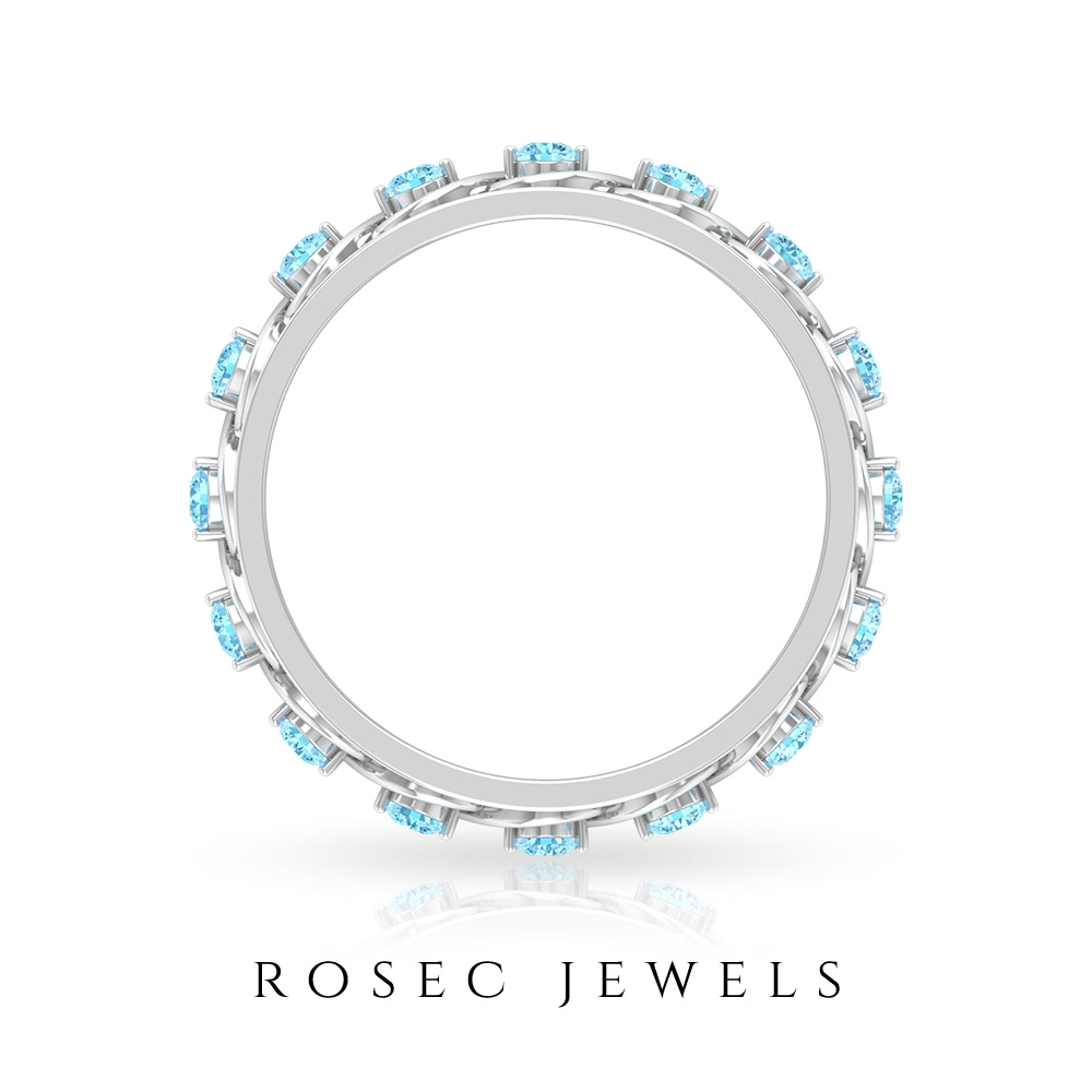 1/2 CT Wide Band Rings for Women with Aquamarine