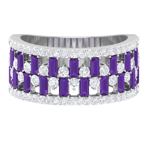 2.25 CT Created Lavender Amethyst Wedding Ring with Diamond