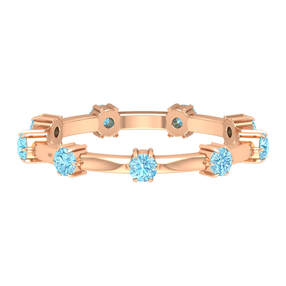 3/4 CT Aquamarine Stackable Promise Band Ring
