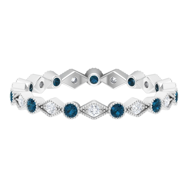 Stackable Ring with 0.50 CT London Blue Topaz and Diamond