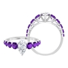 2.25 CT Moissanite Solitaire and Amethyst Side Stone Ring