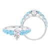 2.50 CT Marquise Cut Moissanite Solitaire Ring with Aquamarine