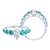 2.50 CT Marquise Cut Moissanite Ring with Created Paraiba Tourmaline Side Stones