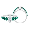 2.50 CT Marquise Cut Moissanite Ring with Created Russian Emerald Side Stones