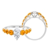 2.50 CT Marquise Cut Moissanite and Created Orange Sapphire Ring