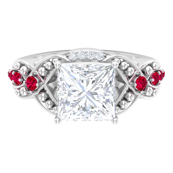 3 CT Princess Cut Moissanite Solitaire and Ruby Gold Beaded Ring