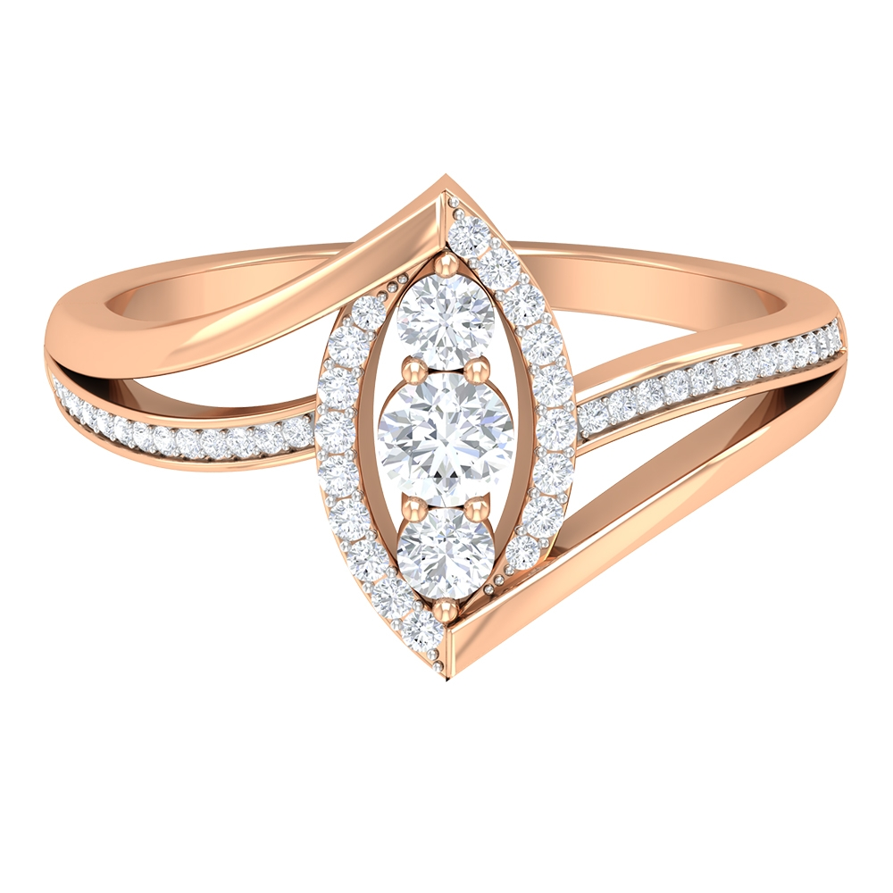 1/2 CT Diamond Accent Marquise Shape Ring with Bypass Shank