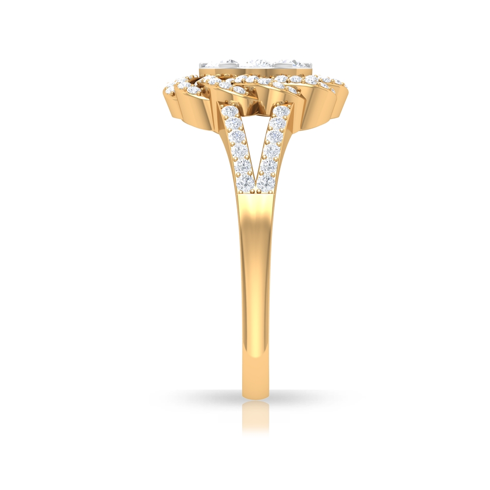 3/4 CT Illusion Set Diamond Halo Engagement Ring with Braided Details