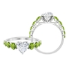 2.75 CT Heart Cut Moissanite Ring with Peridot Side Stones