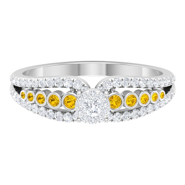 1 CT Diamond and Created Yellow Sapphire Side Stones Engagement Ring