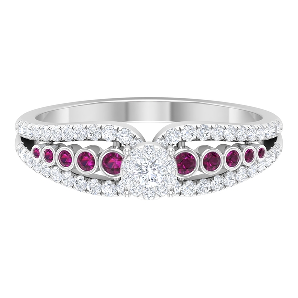 1.25 CT Diamond and Rhodolite Engagement Ring for Women