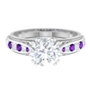 2.25 CT Solitaire Moissanite and Amethyst Vintage Milgrain Ring