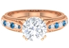 2.50 CT Created Arctic Blue Sapphire Engagement Ring with Moissanite Solitaire