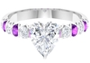 2 CT Created Kunzite Engagement Ring with Moissanite Solitaire