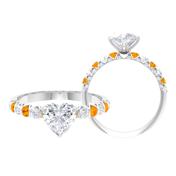 2 CT Heart Cut Moissanite and Created Orange Sapphire Ring