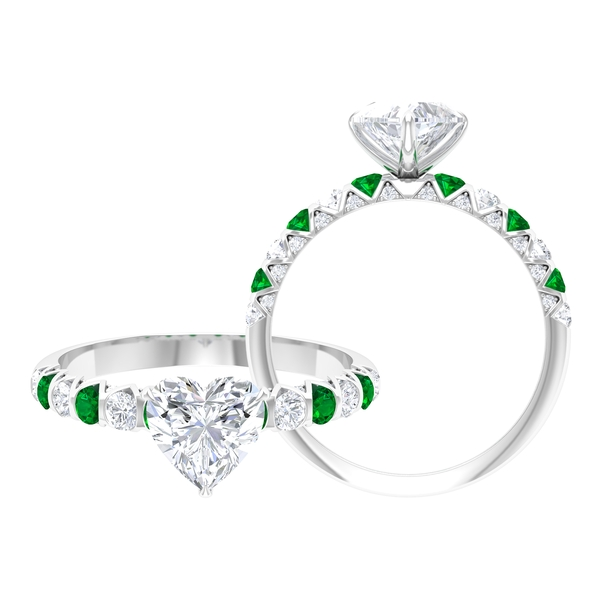 7 MM Claw Set Heart Shape Moissanite Solitaire Engagement Ring with Emerald
