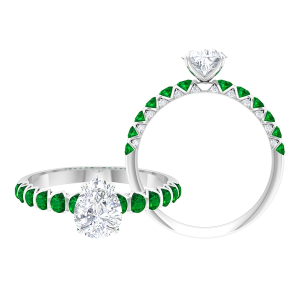 2 CT Pear Cut Moissanite Solitaire Ring with Created Emerald Side Stones