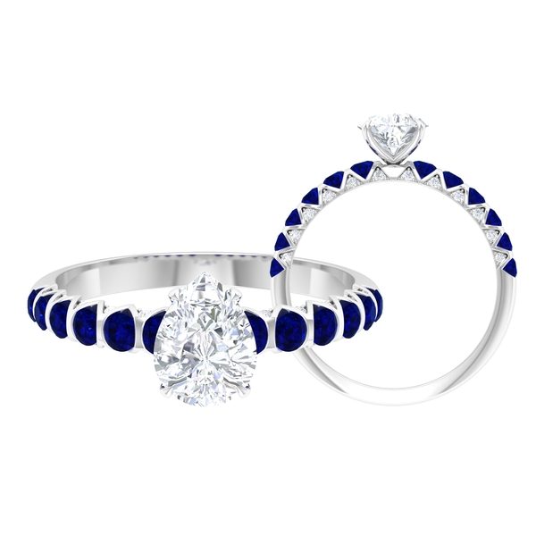 1.75 CT Moissanite Solitaire Ring with Created Blue Sapphire Side Stones