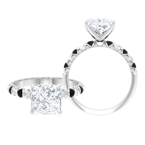 3.25 CT Princess Cut Moissanite and Black Spinel Ring