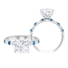 3.50 CT Solitaire Moissanite and Created Arctic Blue Sapphire Ring