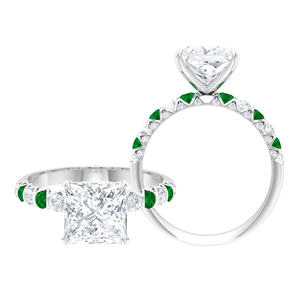 3.50 CT Princess Cut Moissanite and Created Emerald Ring