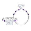 3.50 CT Princess Cut Claw Set Moissanite Solitaire Ring with Amethyst