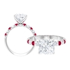 3.50 CT Princess Cut Solitaire Ring with Moissanite and Ruby