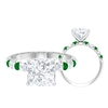 8 MM Claw Set Princess Cut Moissanite Solitaire Engagement Ring with Emerald