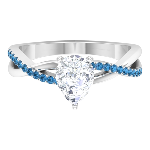 1.50 CT Pear Cut Moissanite and Created Arctic Blue Sapphire Twisted Infinity Ring