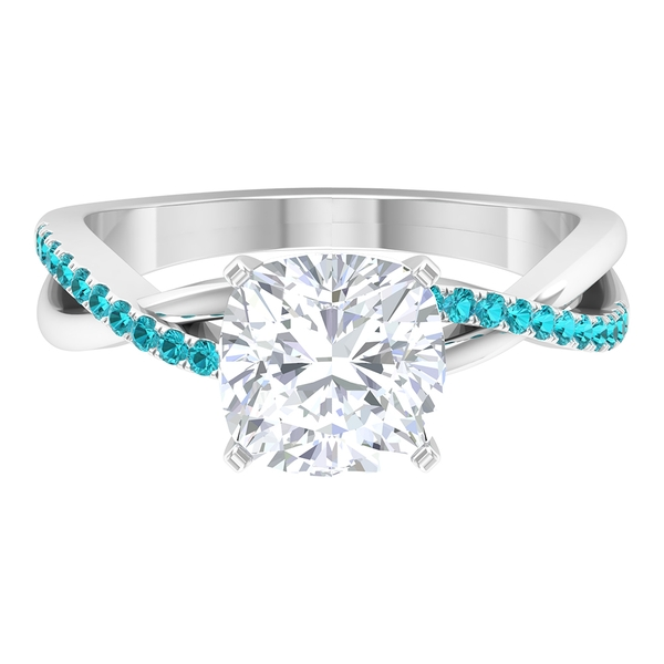 2.25 CT Cushion Cut Moissanite and Created Paraiba Tourmaline Twisted Infinity Ring