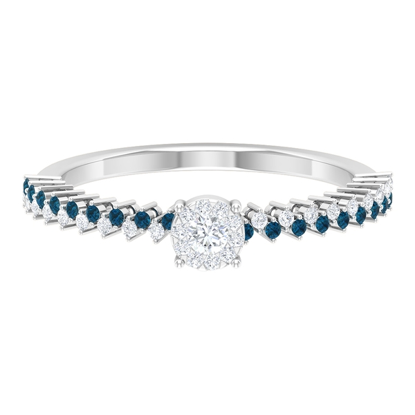 0.25 CT Diamond and London Blue Topaz Ring for Women