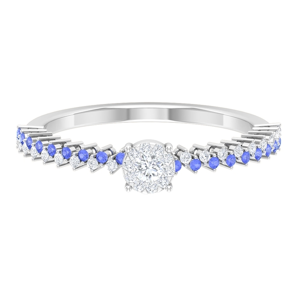 1/4 CT Solitaire Diamond and Created Tanzanite Promise Ring