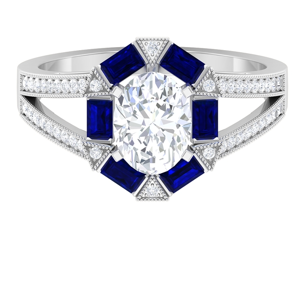 2.75 CT Moissanite and Created Blue Sapphire Art Deco Engagement Ring